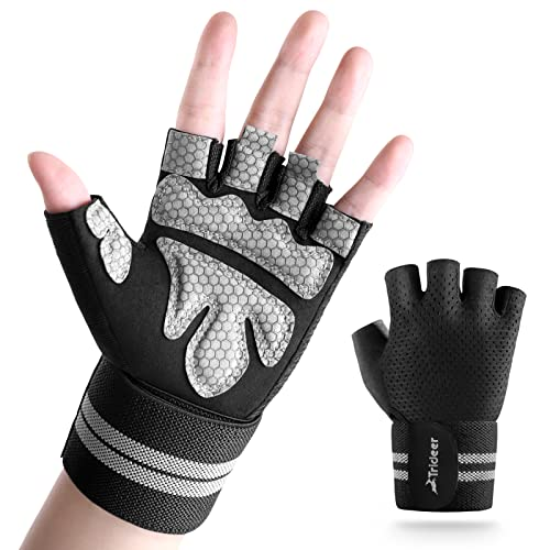"""Trideer Ventilated Workout Gloves for Men Weight Lifting, Gym Exercise Gloves, Weight Lifting Gloves with 19"""" High Elastic Wrist Strap, Suit for Dumbbell, Cycling, Fitness, Cross Training (Black, L )"""