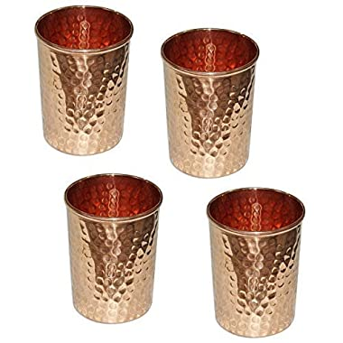 Copper Tumblers Hammered Water Glasses for Dinnerware healing Ayurvedic Product Set of 4