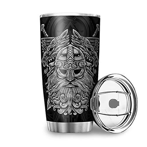 Vaso de acero inoxidable Viking Odin a prueba de óxido taza de agua con tapa deslizante a prueba de salpicaduras para oficina blanco2 20 onzas