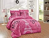Luxury Home Collection Kids/Teens/Girls 7 Piece Full Size Comforter Bedding Set/ Bed in A Bag with Sheets Floral Paris Eiffel Tower Flowers Hearts White Pink Black (Pink, Full Comforter)