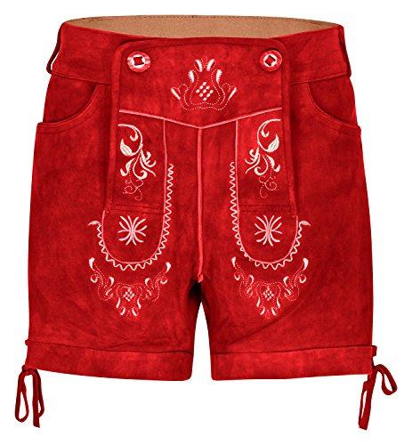Hirschberger korte dames klederdracht lederen broek geitenleer rood