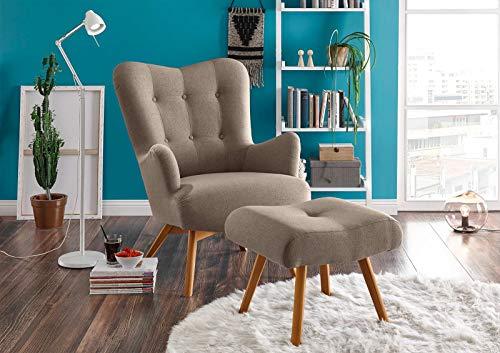 lifestyle4living Sessel in beige-braunem Webstoff, inkl. Hocker   Der perfekte Sessel für entspannte, Lange Fernseh- und Leseabende. Abschalten und genießen!