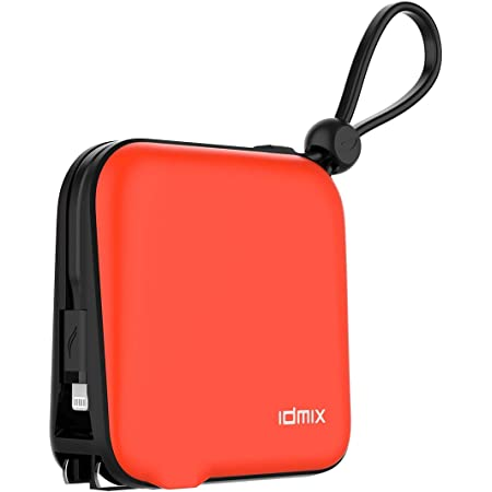 Portable Charger for iPhone Battery Pack 10000mAh External Battery for ipad, IDMIX Power Bank with Built in MFI Certified Apple Lightning Charger Cable, Built in Wall Plug & Travel Adapters (Orange)