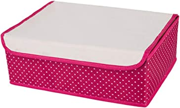 Foldable Drawer Organizer Oxford Cloth Closet Dividers with Lid Underwear Storage Boxes for Socks Panties Bras Ties,Red