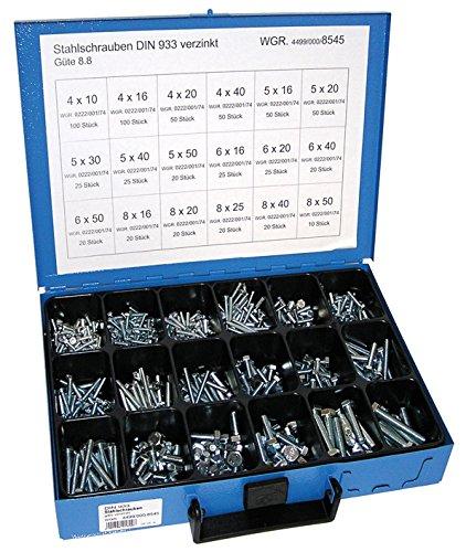 Dresselhaus Sortimente Stahlschrauben DIN 933/8.8 galvanisch verzinkt, 1 Stück, 0/4499/000/8545/06