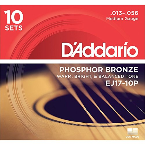 D'Addario EJ17-10P Phosphor Bronze Medium Acoustic Strings (10-Pack) Arkansas