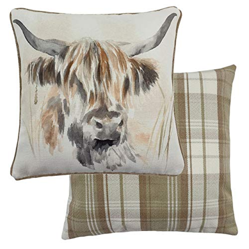 Evans Lichfield Watercolour Highland Cow Feather Filled Cushion, Multi, 43 x 43cm