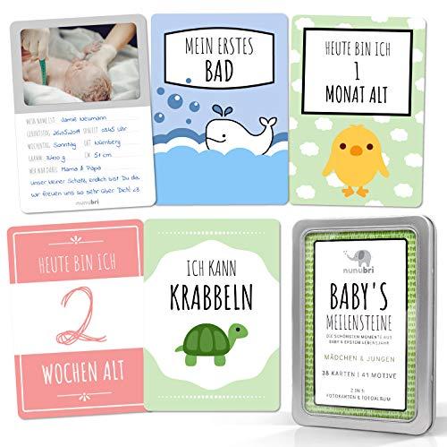 nunubri® Box Meilensteinkarten Baby - 41 Motive - mit Fotofläche für Babyfotos - Baby Meilenstein Karten für Mädchen und Jungen in hochwertiger Geschenkbox - Geschenke zur Geburt