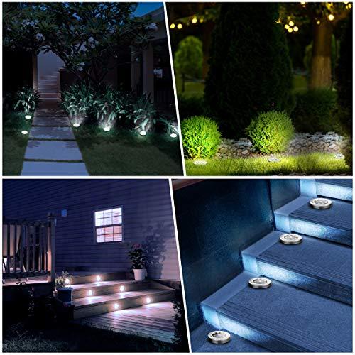 YUNLIGHTS Solar Lights Outdoor 8PCS, 9 LED Solar Ground Lights Disk Lights, Garden Solar Lights Auto On/Off, IP65 Waterproof Solar Yard Lights for Lawn Pathway Yard Driveway Walkway (White)