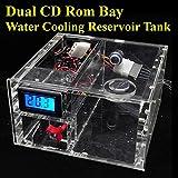 HeKai Doppio CD Rom Bay serbatoio di raffreddamento ad acqua Serbatoio G1 / 4 Parti del misuratore di portata del termometro, refrigeratore d'acqua del computer, doppio serbatoio dell'acqua del comand