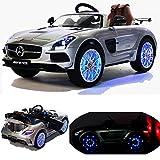 Mercedes-Benz SLS AMG - Coche infantil eléctrico con muchos efectos LED, color plateado