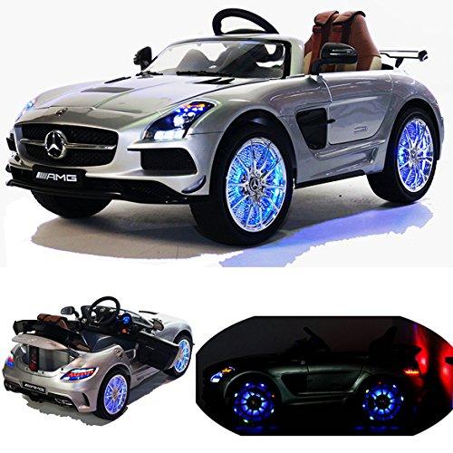 2x MOTEURS* Original Mercedes-Benz SLS AMG Licence - Voiture / Véhicule électrique pour Enfant avec TÉLÉCOMMANDE Porteur Vélo (Argenté)