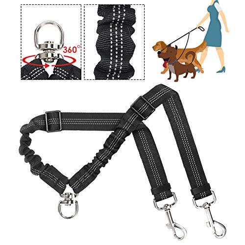 Doppelleine Hundeleine für 2 Hunde, Keine Verwicklung Doppelte Hundeleine für das Lauftraining 360 ° drehbar Reflektierend Verstellbare Länge Zwei-Hundeleinen-Splitter, Stoßdämpfende (Schwarz)