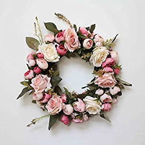 Adeeing Artificial Rose Peony Flower Wreath 13 Inch Spring Door Wreath with Silk Flowers and Green Leaves for Front Door Wall Wedding Party Home Decor (Dark Pink)