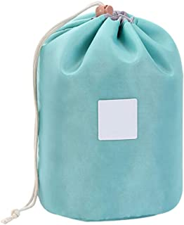 Travel Drawstring Cosmetic Bags Barrel Makeup Bag,Portable Foldable Cases and Bags,Multifunctional Toiletry Bucket Bags Round Cosmetic Organizer Storage Pocket Soft Collapsible Large Capacity Pouch