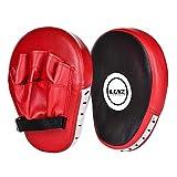 Luniquz 1 Paire de Pattes d'ours Boxe en Cuir Bouclier Courbe pour Boxe Taekwondo Muay Thaï MMA Cible Pad pour l'Entraînement de Sport de Combat