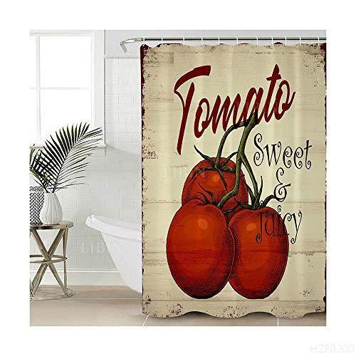Duschvorhang Klein 90 X 180 cm Antibakteriell Waschbar Stoffe Shower Curtain Polyester Tomate Mit Ringe Für Duschvorhang Für Badewanne Dusche