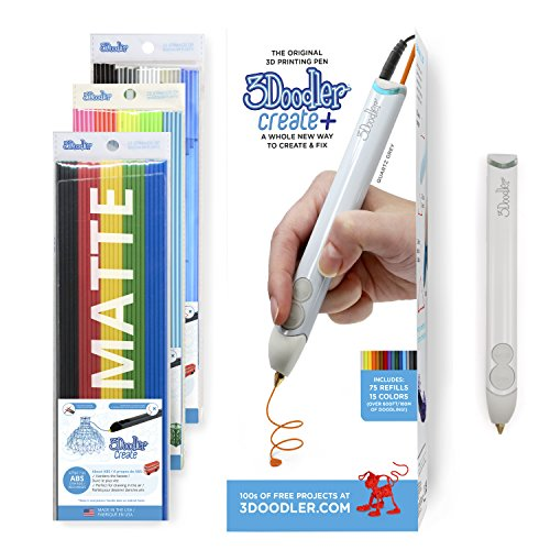 3Doodler Create+ 3D Printing Pen for Teens, Adults & Creators! - Quartz Grey (2019 Model, UK-Plug) - with Free Refill Filament + Stencil Book + Getting started Guide