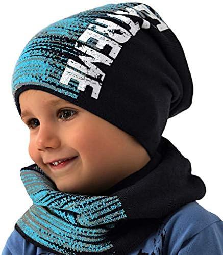 Beanie und Loop Set Kinder Baby M/ütze Schal Jersey Pferde Winterm/ütze