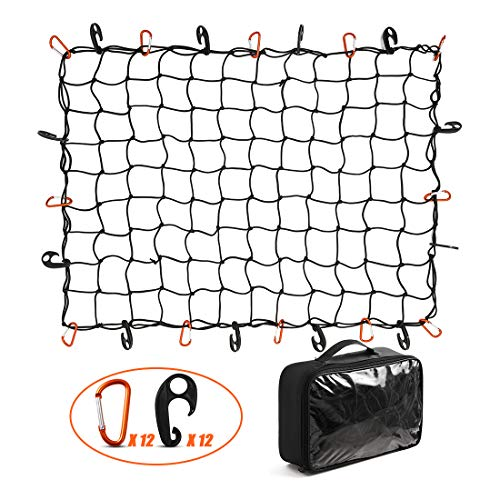 CZC AUTO Bungee Cargo Net 3x4Ft Truck Bed Net Stretches to 6x8Ft for Pickup Trailer RV SUV Boat |3x3Inch Mesh Net Holds Small and Large|12 Tangle Free Carabiners & 12 Plastic Hooks|Super Duty