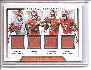 DeShaun Watson Wayne Gallman Deon Cain Mike Williams Clemson Tigers 2018 Panini National Treasures Quad Jersey Memorabilia Football Card #81/99