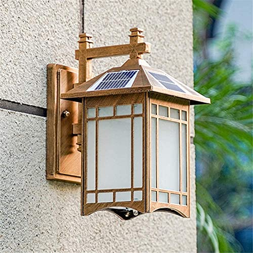 ZJJZ Lámparas de Pared para Exteriores con Luces solares IP65 Luces de Pared inalámbricas con energía Solar a Prueba de Agua E27 con Interruptor de Control Remoto para jardín, Patio, Patio, cubie