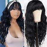Vigorous Black Wig with Bangs Synthetic Long Black Wigs for Women Cheap Wig pelucas de cabello natural(26 Inch)