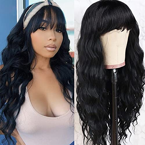 Vigorous Black Wig with Bangs Synthetic Long Wavy Wig for Women Heat Resistant Wig Black Wavy Wig for Daily Wear Natural Color (26 Inch)