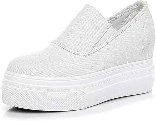 YAN zapatos de mujer Lona 2019 Nueva plataforma zapatos Hauszapatos de bajo Top zapatos Perezosos al Aire Libre absorción de Impactos Caminar zapatos blancoo negro,blancoo,35