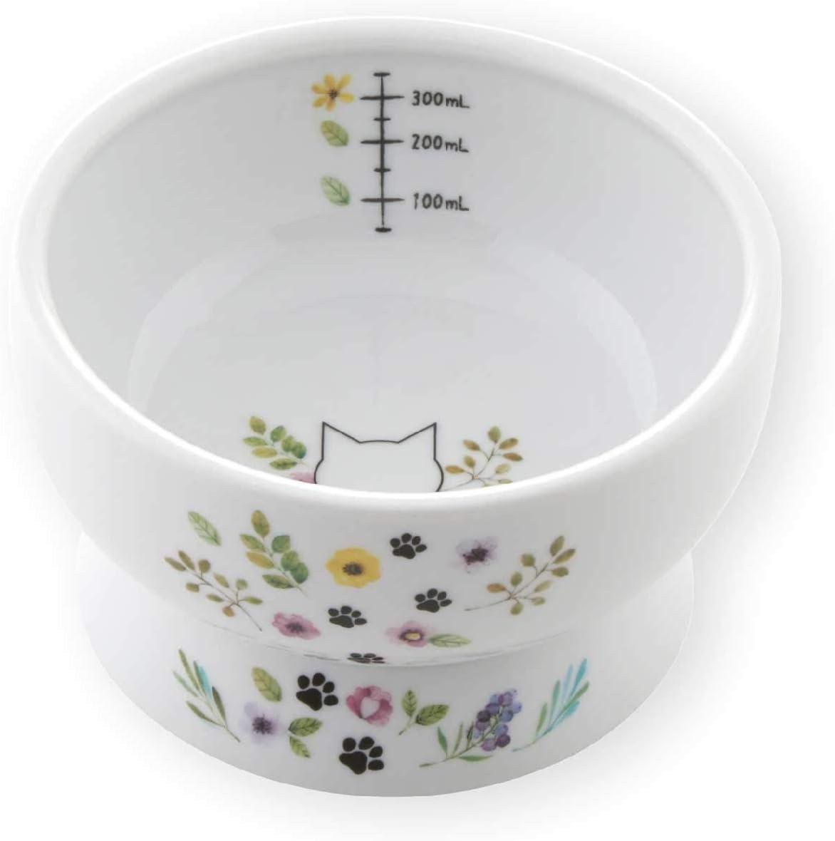 Necoichi Raised Stress Free Cat Water Bowl (Botanical Garden Limited Edition, Regular)