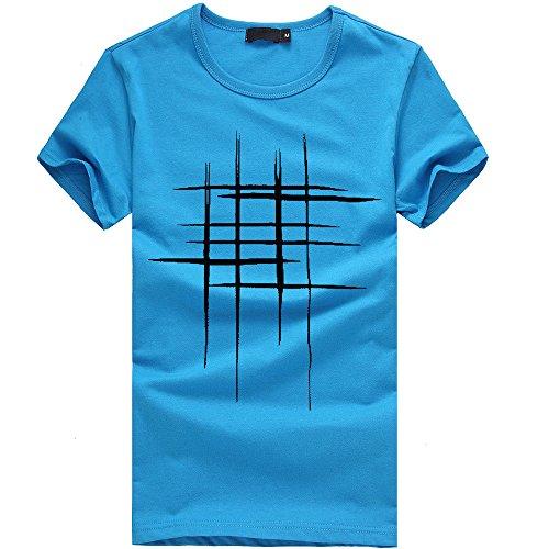 Top de Camiseta con Estampado de líneas para Hombre Interior Casual Slim Fit Manga Corta Camisa Básica Impresión T-Shirt Blusa Sudaderas Top riou
