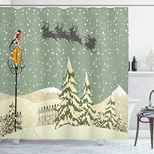 Ambesonne New Year Shower Curtain Santa Claus's Flying Reindeer Christmas
