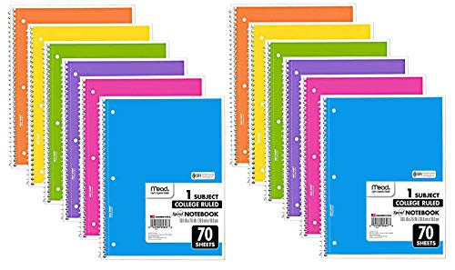 Mead Spiral Notebook, 12 Pack of 1-Subject College Ruled Spiral Bound Notebooks, Cute school Notebooks Pantone Colors, 70 Pages