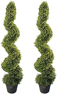 4' Artificial Topiary Spiral Boxwood Trees (Set of 2) by Northwood Calliger | Highly Realistic Potted Decorative Buxus Shrubs | Fake Plastic Plants for Home / Garden | Indoor & Outdoor Use | UV Protec