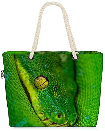 VOID Grüne Phyton Schlange Strandtasche Shopper 58x38x16cm 23L XXL Einkaufstasche Tasche Reisetasche Beach Bag