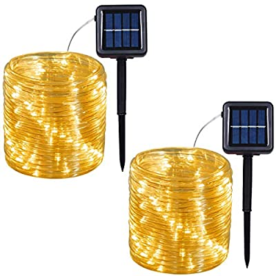 Outdoor Solar LED Rope Lights, String Lights with Clear PVC Jacket 100 LED Indoor/Outdoor Lights 8 Modes Copper Wire Fairy Lights for Wedding Christmas Party 2-Pack (Warm White)