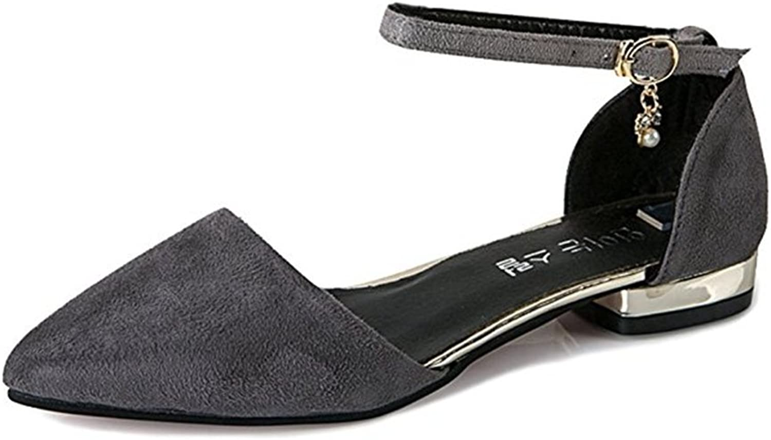 T-JULY Womens Pointed Closed Toe Ankle Strap Buckle with Diamond Chunky Heels Flat Sandals Slip On Dress Pumps shoes