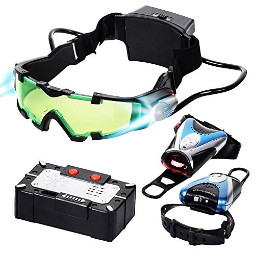 Spy Set for Kids - Kids Spy Gadgets Kit - Night Vision Goggles, Micro Voice Disguiser, Infrared Chaser - Surveillance Toys