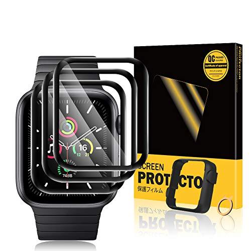 TOPACE 3 Stück Schutzfolie kompatibel mit Apple Watch Series 6/SE/5/4 44mm Folie, Plus Ausrichtungsrahmen, 10D-Vollabdeckung weiche Kante Hochauflösende HD Blasenfreie Kratzfeste Displayschutzfolie