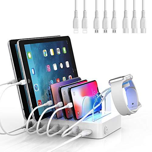 SooPii Estación de Carga móvil con Soporte para iWatch, Organizador Base de Carga rápida QC3.0, Cargador USB múltiple de 6 Puertos para iPhone Samsung Huawei LG Xiaomi, 8 Cables de Carga incluidos