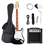 LAGRIMA 4/4 Größe Komplettset E-Gitarre Anfänger elektrische Gitarre mit 20WATT Verstärker, Tasche, Band, Saiten und 3xPIK(schwarz)