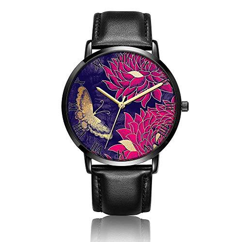 Relojes Anolog Negocio Cuarzo Cuero de PU Amable Relojes de Pulsera Wrist Watches Patrón Floral Vintage
