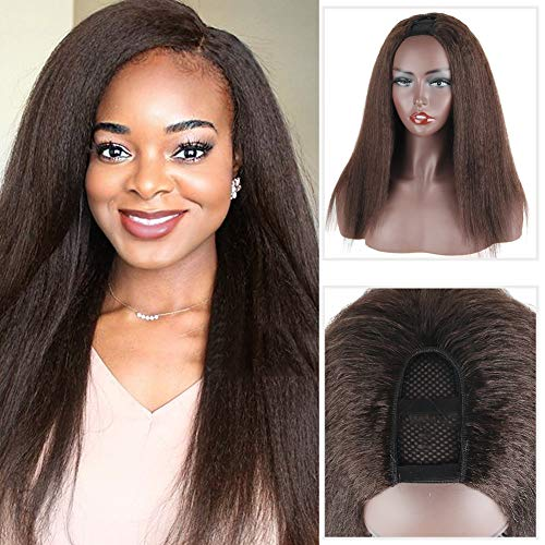 Aisaide Kinky Straight U Part Wigs for Black Women, 16 Inch U Part Wig Synthetic Yaki Curly Black Wigs for Natural 4C Hair, Full Head U Shape Wig Clip in U Part Curly Wig 150 Density (Brown)