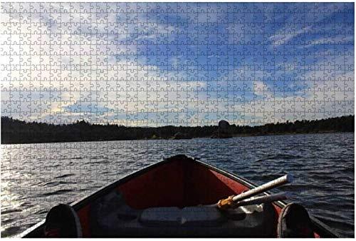 Vista desde el kayak azul a orillas del río con rompecabezas amarillo otoñal grande de 1000 piezas para adultos,juguete educativo para adultos,niños,juego de rompecabezas grande,juguetes,regalo-PUZZL