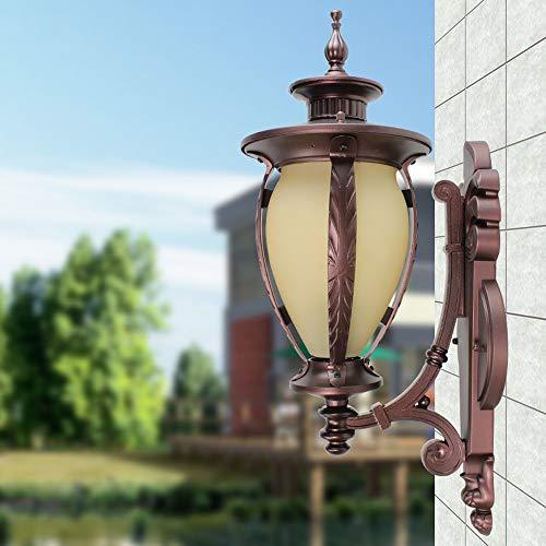 KMYX Lanterne Murale en Verre Antique extérieur Jardin Extérieur Patio Chemin Mur Lampe Traditionnel E27 café Or