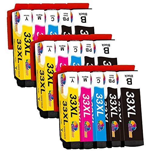 Clorisun 33XL inktcartridges voor Epson 33XL zwart foto zwart cyaan magenta geel multipack voor Epson XP 7100 XP 540 XP 900 XP 830 XP 640 XP 645 XP 635 XP 630 XP-530 printer (pak van 15)