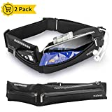 moleve Running Belt, Bounce Free Running Pouch Belt, Ultra Light Running Bag for Fitness Hiking Exercise Sport, Expandable Fanny Pack for Men & Women - Running Belt for Phones iPhone Android (2 Pack)