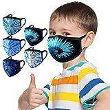 SatinGold 5 Pcs Enfant Lavable 𝐌𝐀𝐒𝐐𝐔𝐄 pour Garçon Fille Mode Tie Dye Imprimé Réutilisable Réglable Respirant Doux Élastique Coupe-Vent Brouillard pour Les Voyages Scolaires en Plein air
