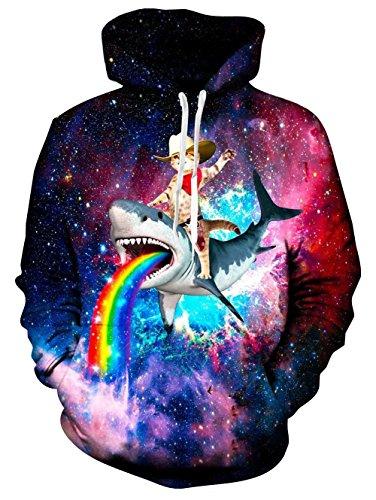 TUONROAD Fun Kapuzenpullover 3D Pullover Hoodie Herren Fleece Hooded Sweatshirt Langarm Galaxy Kapuzenpullover XXL