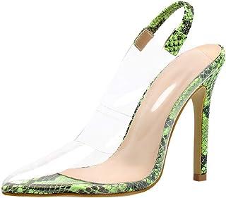 1c63aba275f73e DOLDOA Chaussures Femme ete Chaussures à Talons Aiguilles de Motif Serpent  Chaussure Mariage Femme Beige Talons